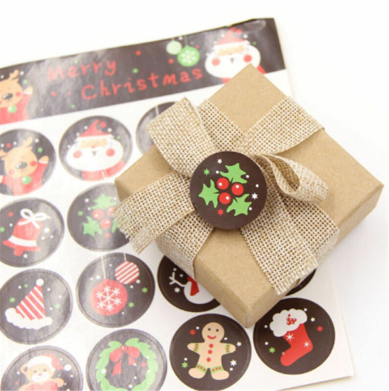 48pcs//3 sheet Merry Christmas Badge Sticker Envelope Seal Wrapping Stickers FO