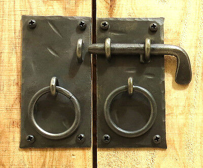 "HANDMADE 4.15""  SQUARE CABINET DOOR LATCH + HANDLES Antique Iron Cupboard Lock 2"