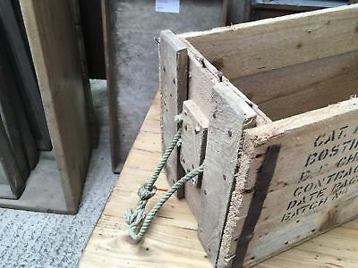 """Two Reclaimed Ammunition Storage Boxes With Rope Handles 25 1/4""""x10 1/2"""""""