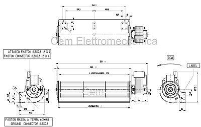 Ventilatore Tangenziale 270 mm per stufa a pellet Qlima Fiorina alte temperature 4