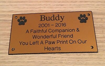 Pet Memorial Bench Plaque (Dogs & Cat paw prints) 3