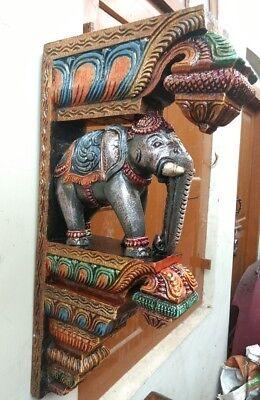 Elephant Wall Corbel Pair Handcarved Wooden Bracket Sculpture Estate Home Decor 4