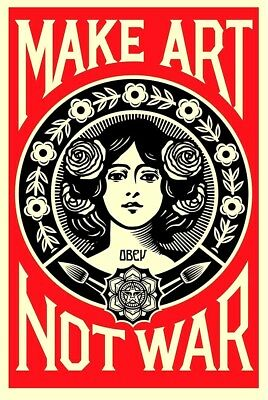 SIGNED Shepard Fairey MAKE ART NOT WAR Print Poster Obey Giant 24x36 5