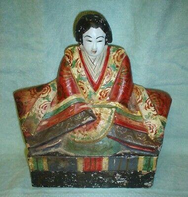 Antique Japanese Meiji Papier Mache Figure Of Empress 5