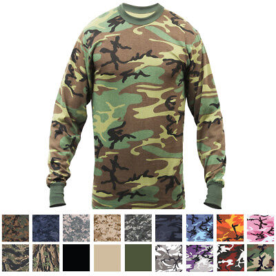 Camo Long Sleeve T-Shirt Tactical Military Crew Tee Undershirt Army Camouflage 2