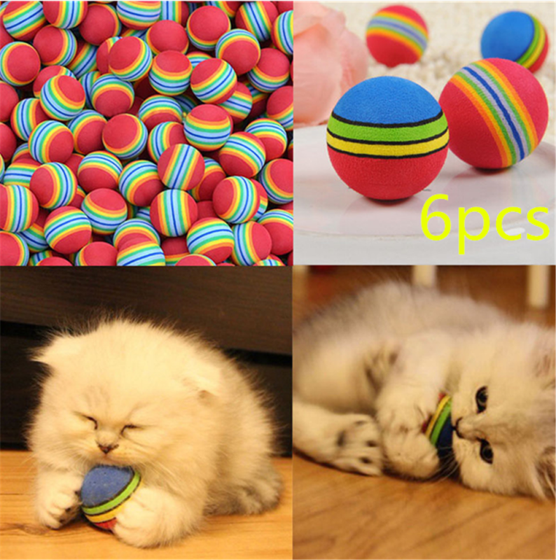 6pcs Pet Cat Kitten Soft Foam Rainbow Play Balls Colorful Funny Activity Toys 2