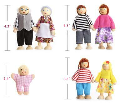 UK Wooden Furniture Dolls House Family Miniature 7 People Doll Kids Children Toy 10