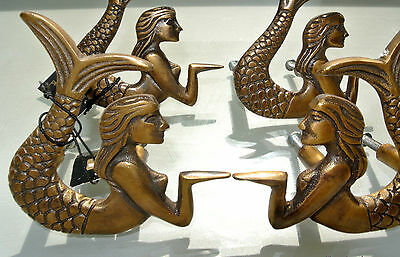 4 cute mermaid handles heavy SOLID BRASS old style bolt house antiques 80mm B 2