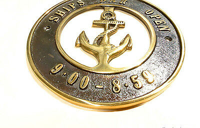 "solid BRASS SIGN Ships Bar Open 6.1/2 "" ship Anchor funny decor screwsl heavy B 3"