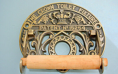 Toilet roll holder vintage style old antique CROWN solid brass heavy fixture 3