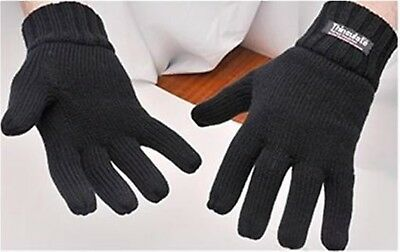 Thermal Knitted Acrylic Glove 3M Thinsulate Lined Black Knit Warm Winter Work 6