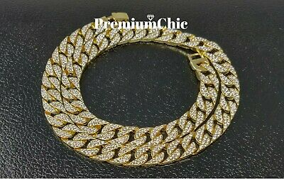 """ICED Miami Cuban Choker Chain Necklace Hip Hop Mens Gold Silver 14mm 16"""" - 30"""" 8"""