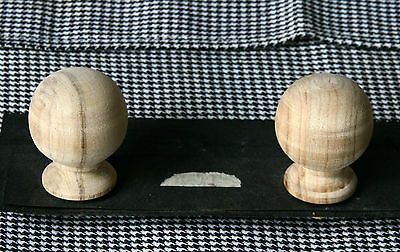 2 Wood FINIALS 42 mm for Antique Wall Clock / Barometer / Mirror / Furniture #14 2