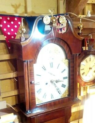 Antique grandfather clock, eight day movement, oak / mahogany case, strikes hour 8