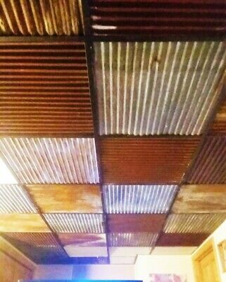 *40 sq ft  DROP CEILING TILES RECLAIMED CORRUGATED BARN ROOFING* (10pc 2' X 2') 6