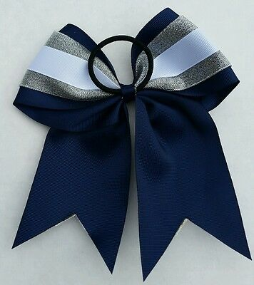 "silver White Seattle Seahawks Cheerleader 8/"" Navy Blue Big Cheer Bow"