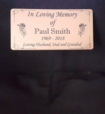 Engraved Memorial Stake Grave/Tree Marker Cremation with Personalised Plaque 2