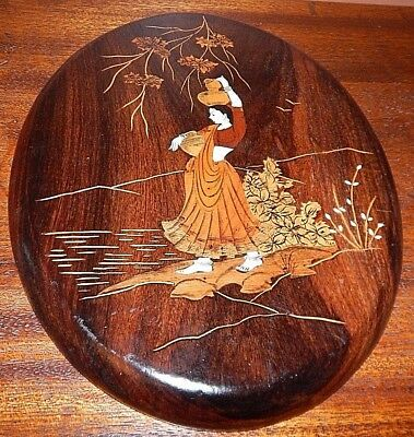 Handmade, Wood Marquetry of Palestinian Woman. Dozens of individual wood pieces. 4