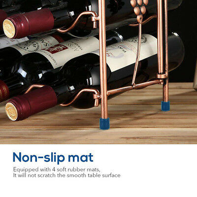 8 Bottle & 8 Goblet Wine Rack Holder Storage Organiser Display Shelf Bar 2 Tiers 8