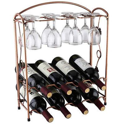8 Bottle & 8 Goblet Wine Rack Holder Storage Organiser Display Shelf Bar 2 Tiers 4