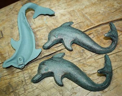 12 Cast Iron Antique Style DOLPHIN Coat Hooks Hook Rack Towel Nautical Beach