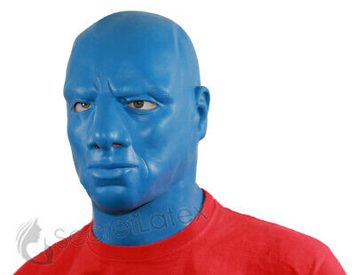 Blue Latex Hood Thick Heavy Rubber Mask Male Masculine Blue Man Anatomical Male 4