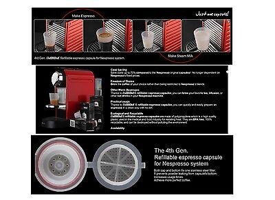10 x LATEST Refillable Reusable Coffee Tea Capsules Pods Pod 4 Nespresso Machine 5