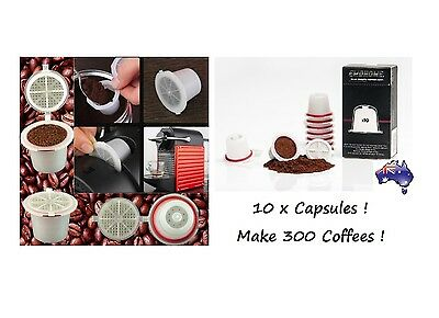 10 x LATEST Refillable Reusable Coffee Tea Capsules Pods Pod 4 Nespresso Machine