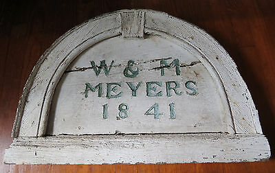 19th C WOODEN HOUSE DATE PLAQUE - W & M MEYERS 1841