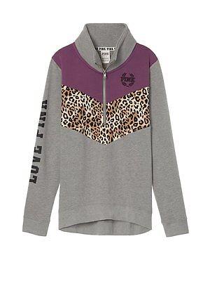 b1965e400d59 1 of 2 Victorias Secret Pink LEOPARD High Low Half Zip Pullover Sweatshirt  NWT L