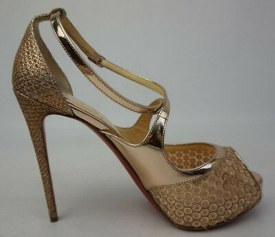 various colors 596b5 61bec CHRISTIAN LOUBOUTIN MIRA Bella 120 Gold Sequin Mirabella Sandal Pump Size  36.5