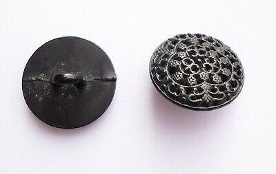 6 BOUTONS noir bordure doré 15 mm  1,5 cm pied queue button black gilt lot