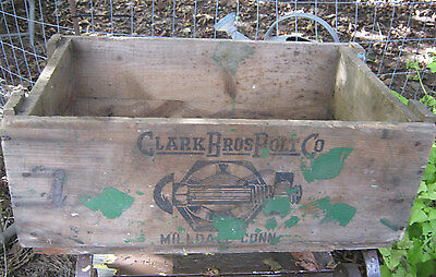 Antique Primitive Ct Country Hardware Store Wood Box Clark Bolt Co Usa Tool Sign 3