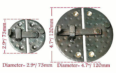 "HANDMADE 2.9"" ROUND CABINET DOOR LATCH Black Antique Iron Cupboard  Decor Lock 3"