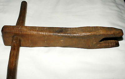 """Rare 19th century early rope bed rope tightener, hickory, T handle. 14"""""""