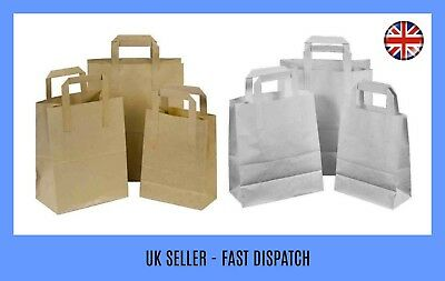 Kraft Paper Brown & White Sos Food Carrier Bags With Handles Party Takeaway Etc 2