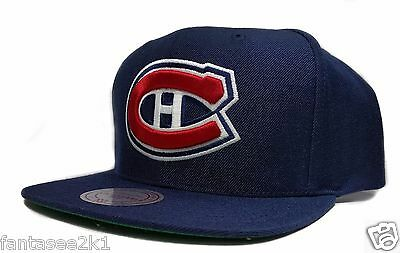 520173f91c8 ... Montreal Canadiens Mitchell   Ness Vintage Solid Wool Blue Snapback Hat  Cap NHL 2