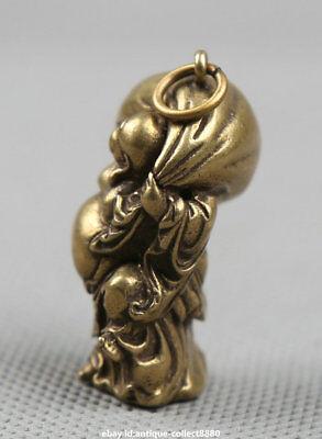 "1.4""Curio Chinese Bronze Happy Laugh Maitreya Buddha Hold Moneybag Small Pendant 4"