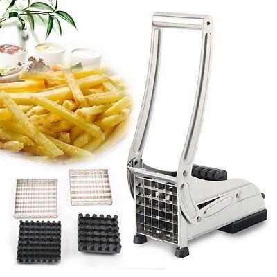 Pommesschneider Edelstahl Pommes Frites Schneider Kartoffelschneider Silber Set