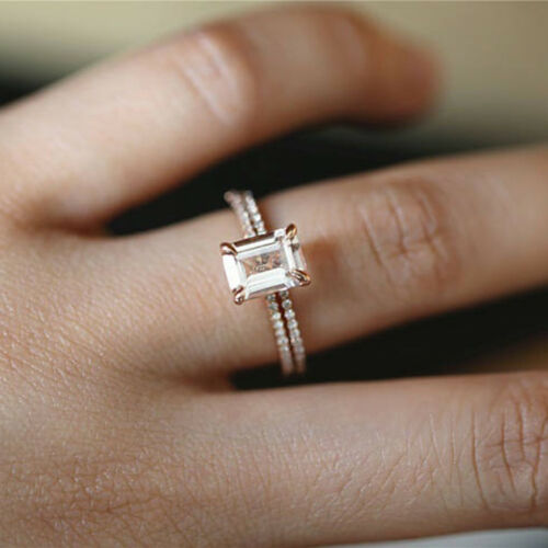2pcs Platinum Plated Square Cubic Zirconia Engagement Finger Rings YU 4