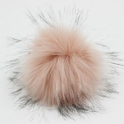 DIY 4.3inch Faux Raccoon Fur Pom Poms Ball for Knitting Beanie Hats Accessories 8