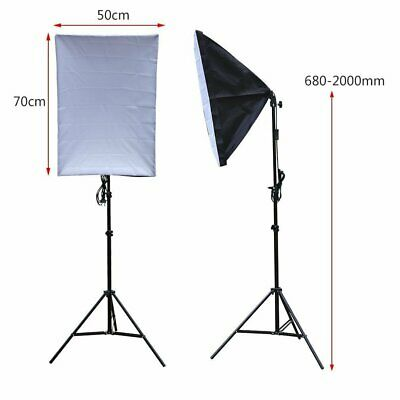 2x 135W Continuous Lighting Softbox Photography Studio Soft Box Light Stand Kit 3