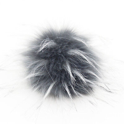 DIY 4.3inch Faux Raccoon Fur Pom Poms Ball for Knitting Beanie Hats Accessories 4