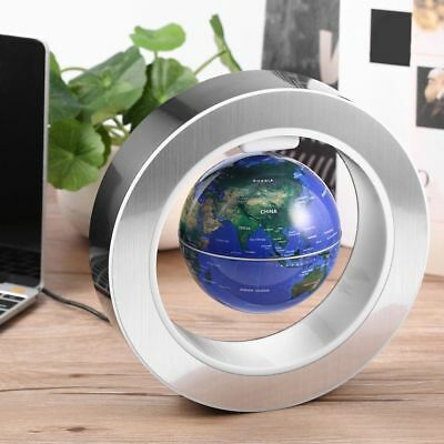 9'' Round O Shape Magnetic Levitation Floating Globe World Map w/ LED Light Blue 3