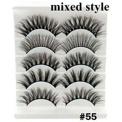 5Pairs 3D Natural False Eyelashes Long Thick Mixed Fake Eye Lashes Makeup Mink 12