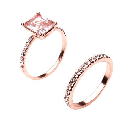 2pcs Platinum Plated Square Cubic Zirconia Engagement Finger Rings YU 3