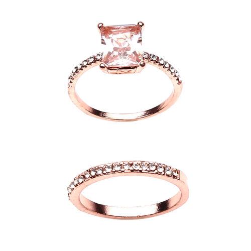 2pcs Platinum Plated Square Cubic Zirconia Engagement Finger Rings YU 5