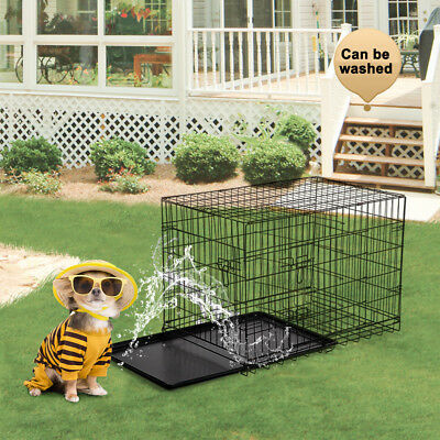 """Refurbished 36"""" Folding Suitcase Dog Cat Crate Cage W/Divider Kennel Pen W/Tray 4"""
