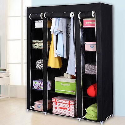 2 Of 6 53u0027u0027 Portable Closet Wardrobe Clothes Rack Storage Organizer With  Shelf Black