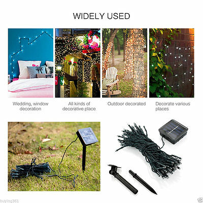 50 100 200 LED Solar Power Fairy Lights String Garden Outdoor Party Wedding Xmas 7